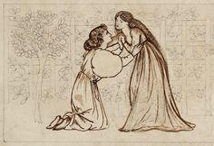 Lovers in a Garden (detail), 1863, Edward Burne-Jones