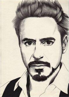 Robert Downey Jr is my world; Portrait Au Crayon, Pencil Portrait Drawing, Portrait Sketches, Art Drawings Sketches Simple, Drawing Art, Pencil Art, Avengers Painting, Iron Man Drawing, Avengers Drawings