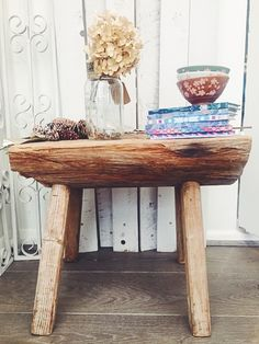 Large Rustic Wooden Stool / Sidetable