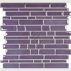 Lilac Random Bricks Purple Cane Solids Glossy Glass Tile for main floor bathroom Bathroom Floor Tiles, Kitchen Backsplash, Kitchen Appliances, Purple Kitchen, Water Patterns, Basement Inspiration, Master Bath Remodel, Bathroom Renovations, Bathroom Ideas