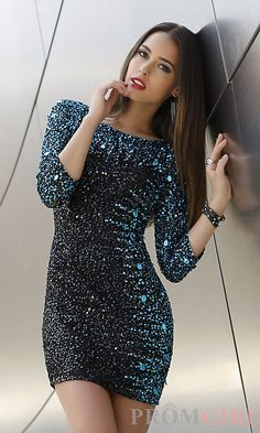 Long Sleeve Short Sequin Dress - Dress: short evening gold ...