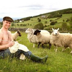 I think I need to take up sheep herding LOL....What's he knitting? Oh wait who cares :)