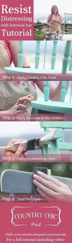 How to resist distress furniture with our beeswax distressing bar | how to easily distress furniture #countrychicpaint - www.countrychicpaint.com/tutorials