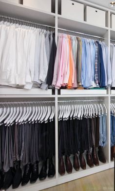 Kelley would like the rods hung high enough to store shoes beneath in the master closet. Walk In Closet Design, Bedroom Closet Design, Master Bedroom Closet, Bedroom Wardrobe, Closet Designs, Dressing Room Closet, Dressing Room Design, Closet Storage, Closet Organization