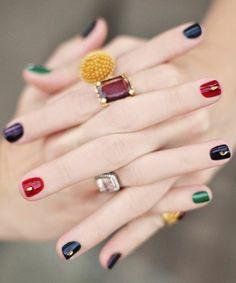 ongle en gel deco, ongles colorés avec deoc facile a faire