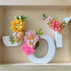 J.O.Y. flower alphabets. Wall display. Home deor. Felt flower. Letters. Wood base