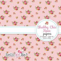 Shabby Chic Rose Digital Paper vintage shabby by hellolovetoo