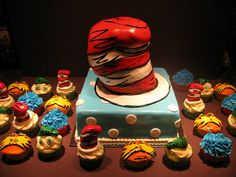 Cat in the Hat Cake and Cupcakes