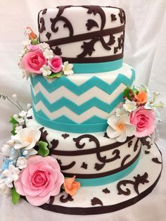 Turquoise And Brown, Floral & Chevron Wedding Cake Turquoise And Brown, Floral & Chevron Wedding Cake Vanilla cakes w bc icing, covered in fondant with turquoise & brown...