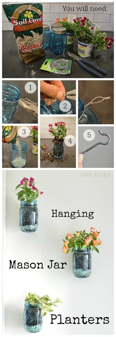 DIY mason jar planters for garden lovers DIY mason jar planters with tutorials to make creative containers for plants, succulent, herbs and flowers with vertical hanging planter, pallets and more. Mason Jar Plants, Plants In Jars, Hanging Mason Jars, Mason Jar Diy, Mason Jar Garden, Hanging Herbs, Hanging Planters, Garden Planters, Plant Wall
