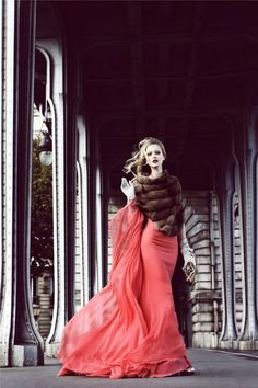 Coral gown with fur shrug
