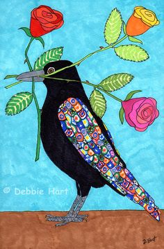 """""""Millefiori Crow with Colorful Roses"""" by Debbie Hart"""