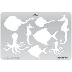 template, sea creatures, seahorse, squid, fish, manta ray