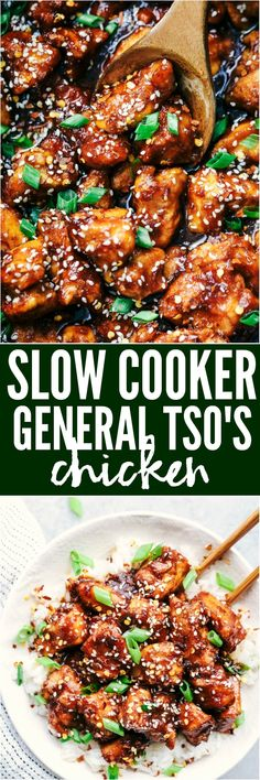 Slow Cooker General Tsos Chicken is a super easy meal with an amazing sweet and savory sauce with a little bit of heat! This is way better than takeout!