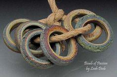 Handmade Glass Beads of Passion Rings - 6 Rugged Tie Dye Sliders