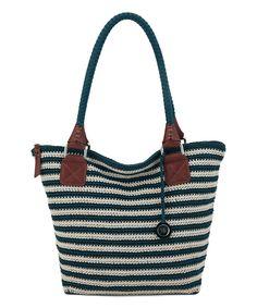 9e93be054d00 The Sak Vintage Eggshell Stripe Cambria Crochet Tote