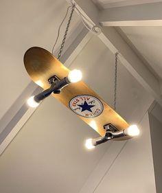 Custom made/painted skateboard light - Skateboard Furniture - Skater Girls Skateboard Lampe, Skateboard Light, Skateboard Furniture, Skateboard Room, Painted Skateboard, Vintage Bedroom Decor, Room Ideas Bedroom, Bedroom Décor, Geek Bedroom