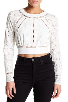 Cropped Long Sleeve Eyelet Lace Blouse by endless rose on @nordstrom_rack