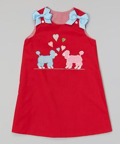 Loving this Red Puppies Bow Clip A-Line Dress - Toddler & Girls on #zulily! #zulilyfinds