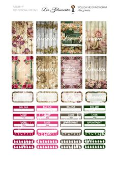 Printable WEEKLY sticker mix #1 -Digital File Instant Download - planner girl, Mambi, happy planner, Shabby Chic di LaGhinetta su Etsy