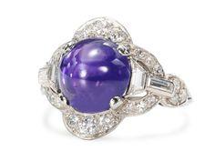 Art Deco No Heat Star Sapphire Ring - The Three Graces