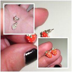 Damen/Kinder #Ohrringe - #Modeschmuck Stecker/Rot/ #Erdbeere | #eBay