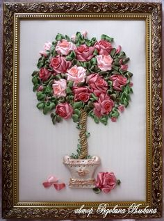 Gallery.ru / Фото #20 - RECHOHIDAS POR N.E.T - lumy Ribbon Art, Ribbon Crafts, Silk Ribbon Embroidery, Hand Embroidery, Paper Quilling, Fabric Painting, Quilt Patterns, Flower Arrangements, Sewing Crafts