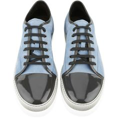 Lanvin Patent Toe Cap Blue Suede Sneaker