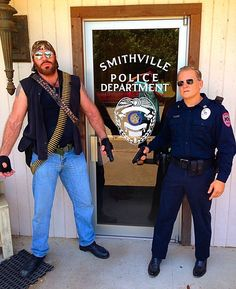 """As a police officer on the set of a CMT music video by country rapper, Mikel Knight, for his song """"Last Night in Texas"""" -- with a very large bounty hunter! Cmt Music, Bounty Hunter, Actor Model, Police Officer, Country Girls, Candid, Knight, Rapper, Music Videos"""