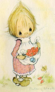 I seem to remember that my sister had a Betsy Clark doll. I could be wrong about that. But the drawings were all over the place. cute with little pointed heads. sort of a pre-Precious Moments. Precious Moments, Holly Hobbie, Hallmark Greeting Cards, Clark Art, Quelques Photos, Hobby Horse, Gif Animé, Little Doll, Illustrations