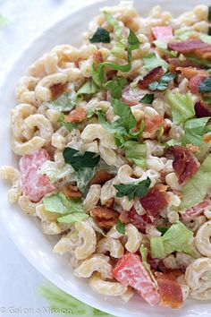 BLT Macaroni Salad - A twist on your traditional summer macaroni salad! A favorite at potlucks and BBQ'S!