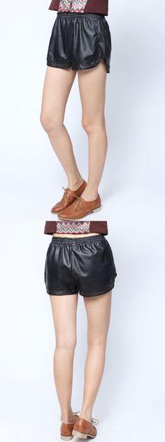 Women hot casual hollow out elastic pu shorts shorts pants convertible #board #shorts #pants #cycling #shorts #under #pants #nike #shorts #pants #shorts #or #pants #weather