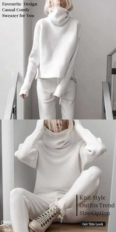 White Sweater Women casual style knit wear, speical design and comfy warm sweaters you would love it White Sweater Women, White Sweaters, Sweaters For Women, Warm Sweaters, Big Sweater, Slouchy Sweater, Fashion 2020, Look Fashion, Autumn Fashion