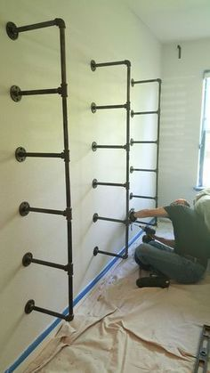 Vintage Industrial Decor DIY industrial pipe shelves step by step tutorial