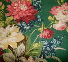 Antique Vintage Cottage Floral Roses Fabric ~ pink red blue yellow emerald green