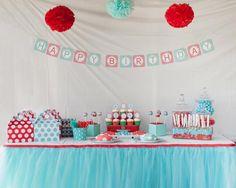 Aqua and Red Polka Dot Party