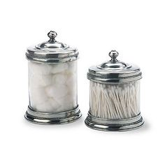 Match Pewter Glass Canisters for your bathroom. Available at Amelia's Fine Linens, Chesterfield, MO
