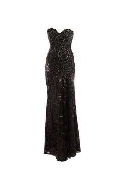 "Tony Bowls Black Formal Gown Sweetheart Neckline, Sequins & Rhinestones High Slit, Flowing Train ATA 16"" Length 57"" Size Small"