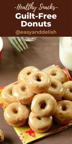 Guilt-Free donuts that has an apple cider flavor and are baked in the oven. Kids are crazy for them! #guitfreedessert #baking #healkthysnack #lowcalorietreats #donuts #applecider Healthy Fruit Snacks, Protein Snacks, Maple Glaze, Baked Donuts, Weight Loss Snacks, Guilt Free, Apple Cider, Delish, Oven