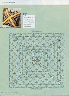 Crochet granny pillow