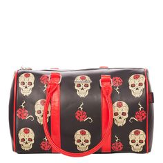 This barrel shaped black bag has a quirky print of skulls and red roses. The contrasting red PVC straps are an eye catching addition to this item. Wear with a more casual look of black skinny jeans and a top.  Zip closure Internal zip pocket / Inner Lining - Polyester 37cm Long - 27cm High - 17cm Wide