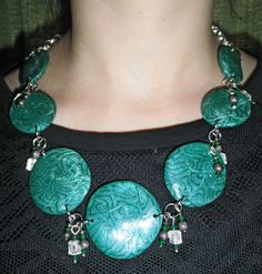 Polymer clay necklace charm emerald aquamarine di HanDesign1987