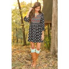 Wish You Were Here Dress-Navy - $42.00