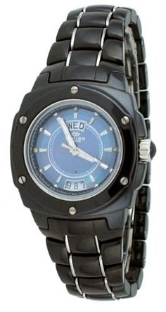 Oniss #ON436-L Women's Sapphire Crystal Genuine Diamond Markers Black Ceramic Watch Oniss. $149.95. Precise Swiss Quartz Movement. Sapphire Crystal, Day/Date Display, Luminous Hands, Genuine Diamond Markers. Case Size:  36mm Diameter, 9.5mm Thickness. Water Resistant - 50M, Screw Down Case Back. Hi-Tech Ceramic Case and Band, Stainless Steel Push Button Butterfly Connecting Clasp. Save 65% Off!