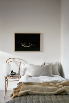 Bedroom beige Scandinavian decor and interior Thonet