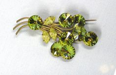 Vintage 40s Gold Green Luster and Crystal Rhinestone Floral Goldtone Setting Brooch Pin Unsigned by MermeowTreasures, $25.00