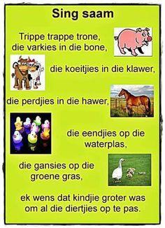 Trippe trappe trone, die varkies in die bone School Songs, School Themes, Maria Montessori, Preschool Learning, Teaching, Kids Poems, Children Songs, Afrikaanse Quotes, Rhymes Songs