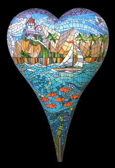 sailing on catalina heart mosaic by Carol Towler I never knew there where so many hearts in the world ?