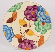 Stunning Art Deco Grays Pottery Stylised Flower Floral Plate Sam Talbot
