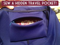 poche de voyage cachée - Fehr Trade: A hidden travel pocket tutorial Sewing Hacks, Sewing Tutorials, Sewing Patterns, Sewing Projects, Sewing Tips, Sewing Crafts, Techniques Couture, Sewing Techniques, Sewing Clothes